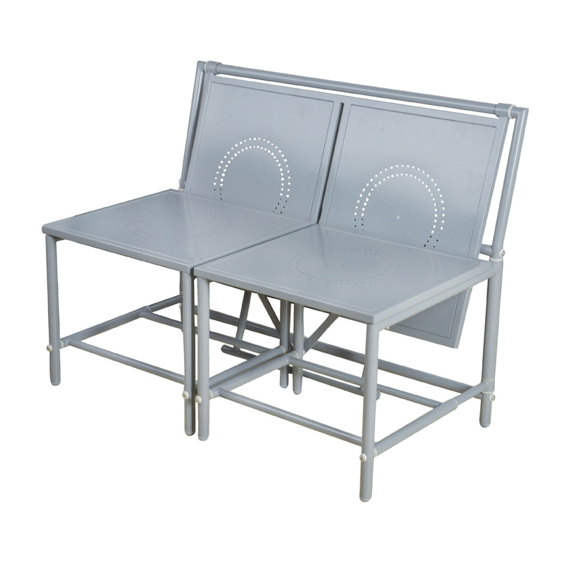 Ensemble table et chaises convertible en banc gris for Table et banc de jardin