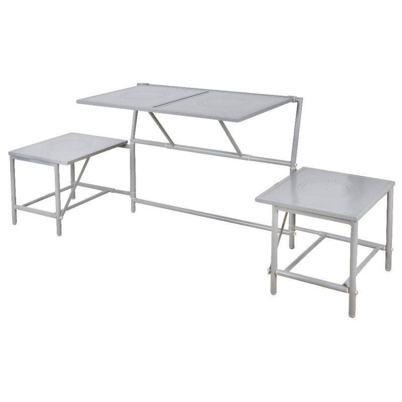 Ensemble table et chaises convertible en banc gris for Ensemble meuble de jardin
