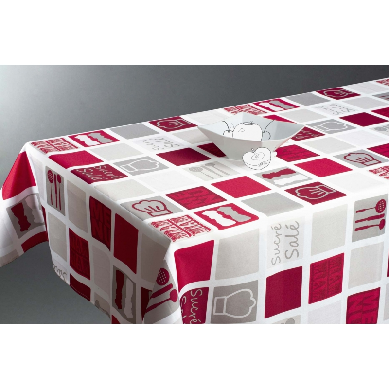 Nappe rectangulaire 140 x 240 cm imprim cuisine for Table de cuisine rectangulaire