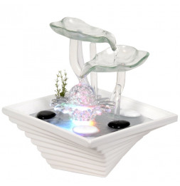 Fontaine Cristal Line - Nénuphar - Eclairage LED multicolore