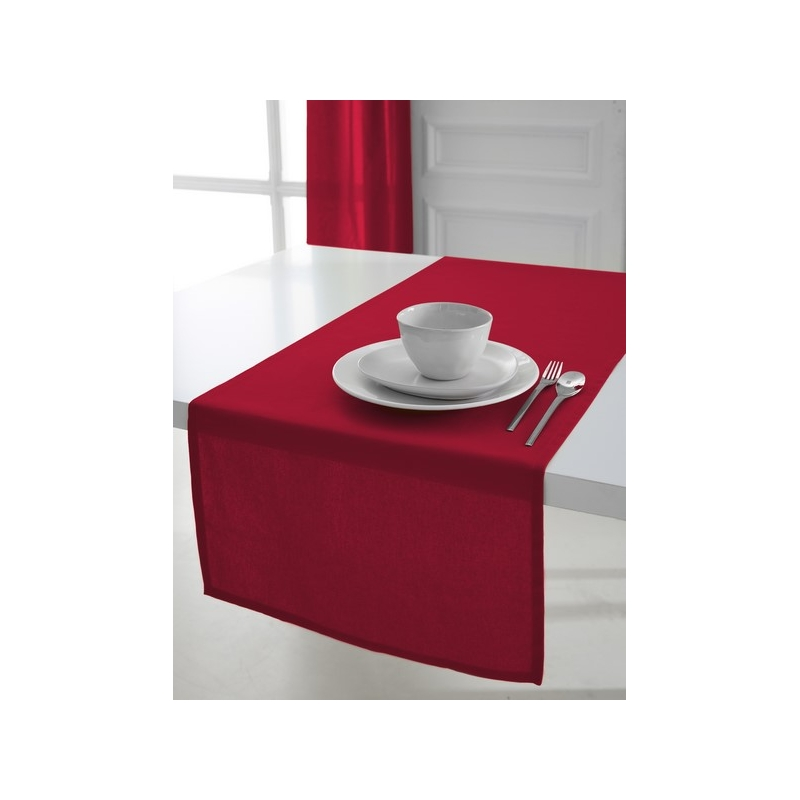 chemin de table coton 50 x 150 cm rouge linge de table ac deco. Black Bedroom Furniture Sets. Home Design Ideas