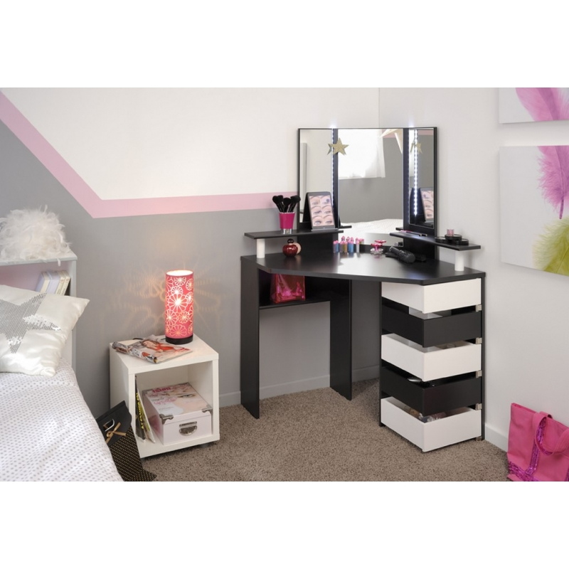 coiffeuse 5 compartiments volage marron et blanc l. Black Bedroom Furniture Sets. Home Design Ideas