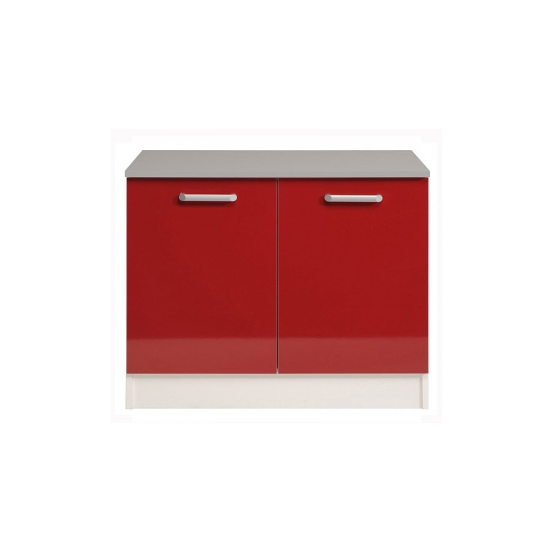 meuble bas de cuisine 2 portes glossy rouge l 120 x. Black Bedroom Furniture Sets. Home Design Ideas