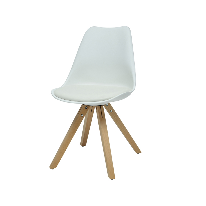 Chaise blanc hannover l 50 x p 80 x h 50 cm ac deco for Chaise 50 cm