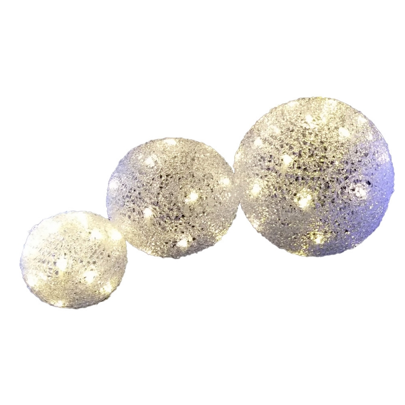 boules de no l lumineuses led lot de 3 boules lumi re chaude ac deco. Black Bedroom Furniture Sets. Home Design Ideas