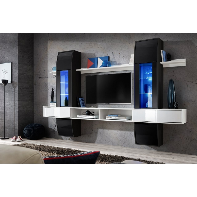 ensemble meuble tv mural comet i b 187 cm x 307 cm x 40 cm blanc et noir ac deco. Black Bedroom Furniture Sets. Home Design Ideas