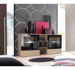 commode lyra 150 cm x 82 cm x 40 cm ch ne et noir ac deco. Black Bedroom Furniture Sets. Home Design Ideas