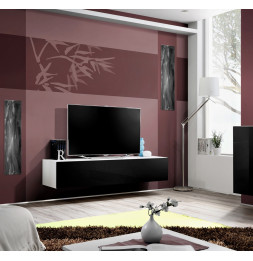 Ensemble meuble TV mural  - Fly - 160 cm x 30 cm  x 40 cm - Blanc