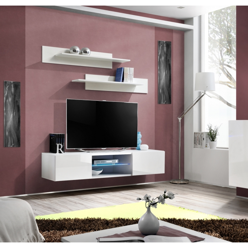 banc tv fly ii 160 cm x 30 cm x 40 cm blanc ac deco. Black Bedroom Furniture Sets. Home Design Ideas