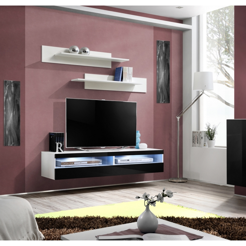 banc tv fly iii 160 cm x 30 cm x 40 cm blanc et noir ac deco. Black Bedroom Furniture Sets. Home Design Ideas