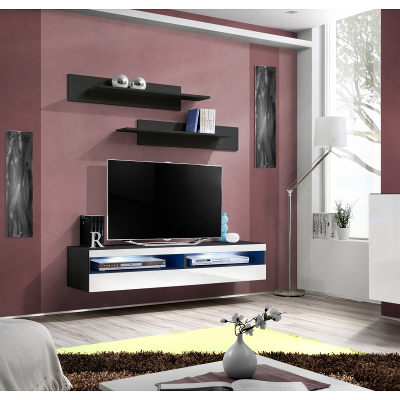 banc tv fly 160 cm x 30 cm x 40 cm noir et blanc. Black Bedroom Furniture Sets. Home Design Ideas