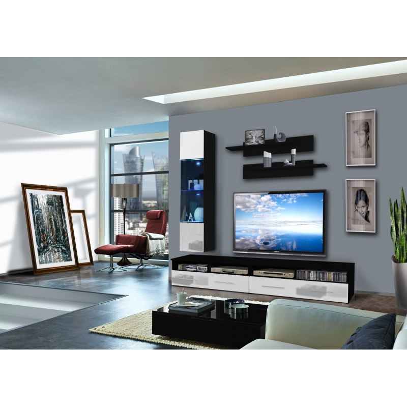 ensemble meuble tv mural 1 vitrine led clevo v l 120 cm noir et blanc ac deco. Black Bedroom Furniture Sets. Home Design Ideas