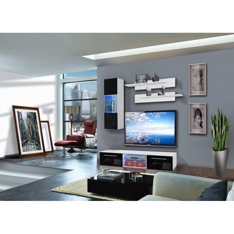 ensemble meuble tv mural 1 vitrine led drada iii l 180 cm blanc et noir ac deco. Black Bedroom Furniture Sets. Home Design Ideas