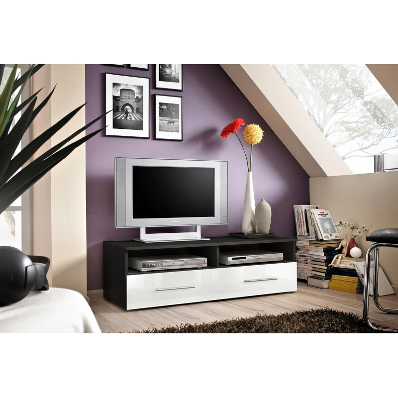 banc tv bern 120 cm x 37 cm x 45 cm noir et blanc. Black Bedroom Furniture Sets. Home Design Ideas