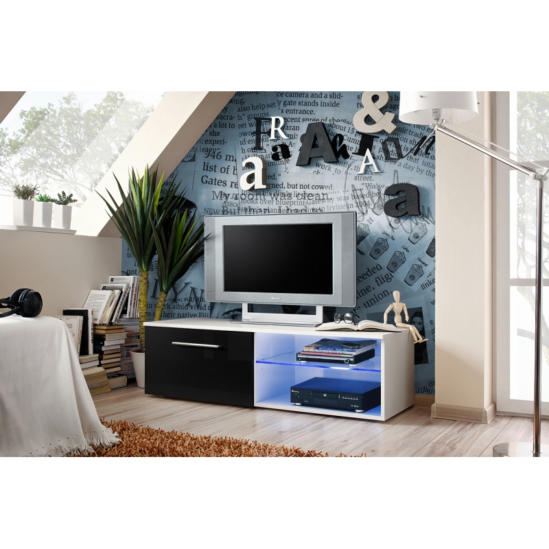 banc tv bono iv 120 cm x 37 cm x 45 cm blanc et noir. Black Bedroom Furniture Sets. Home Design Ideas