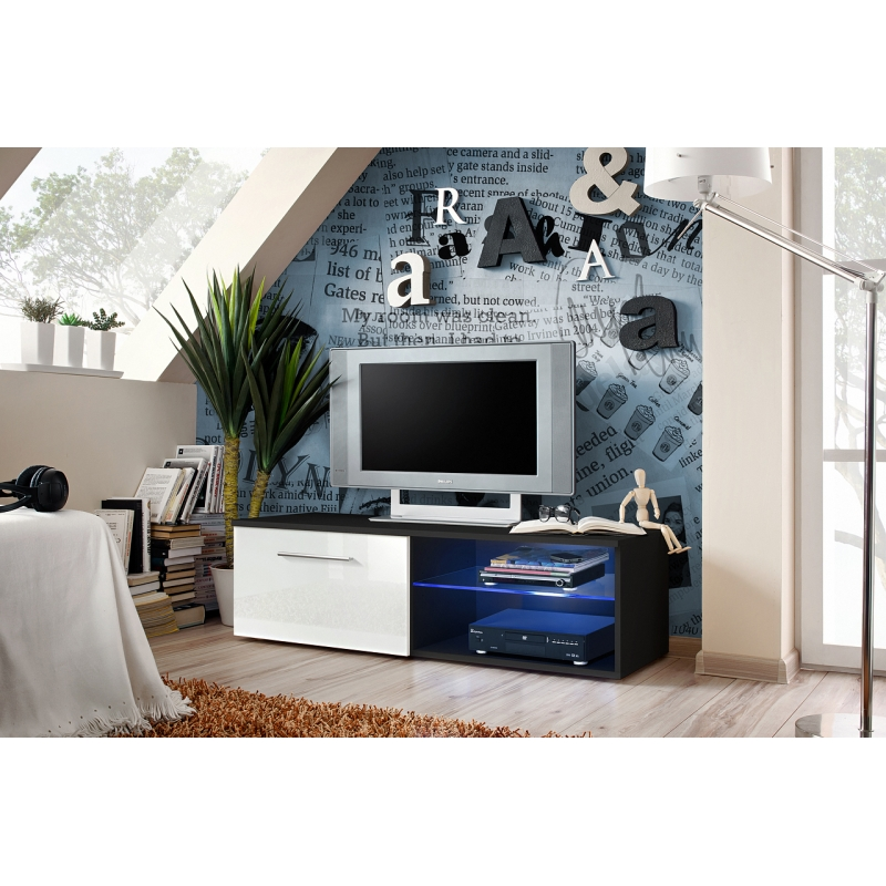banc tv bono iv 120 cm x 37 cm x 45 cm noir et blanc ac deco. Black Bedroom Furniture Sets. Home Design Ideas