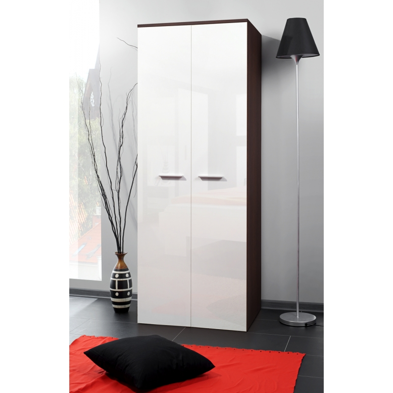 armoire penderie 2d 70 cm x 55 cm x 190 cm weng et blanc ac deco. Black Bedroom Furniture Sets. Home Design Ideas