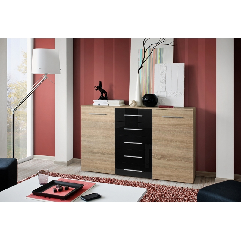 commode fox i 150 cm x 103 cm x 40 cm ch ne et noir ac deco. Black Bedroom Furniture Sets. Home Design Ideas