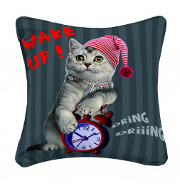 Housse de coussin - 40 x 40 cm - Cat wake up