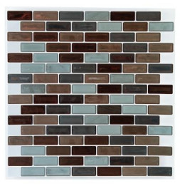 Sticker carrelage rectangle mosaïque - Lot de 2 - 25 x 25 cm - Marron et vert