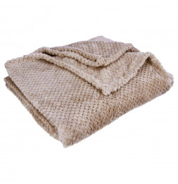 Plaid microfibre popcorn - 125 x 150 cm - Polyester - Taupe