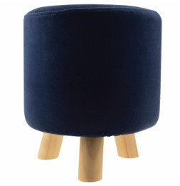 "Pouf velours rond ""London Colorama"" - H 35 cm - Bleu nuit"