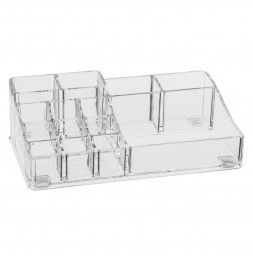 Organiseur make-up 14 compartiments - 22,3 x 12,7 x 7 cm - Polystyrène transparent