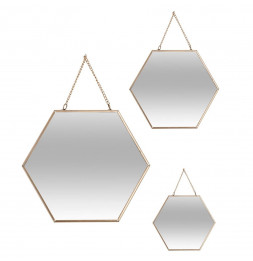 Miroir hexagone - Lot de 3 - Jaune