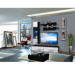 Ensemble Meuble Tv Murale Ledge Iii 1 Vitrine Led Noir Et