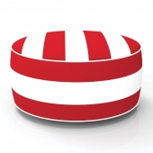 Pouf gonflable - In and out - D 53 cm x H 23 cm - Rouge et blanc