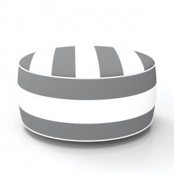 Pouf gonflable - In and out - D 53 cm x H 23 cm - Gris et blanc