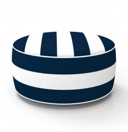 Pouf gonflable - In and out - D 53 cm x H 23 cm - Bleu et blanc