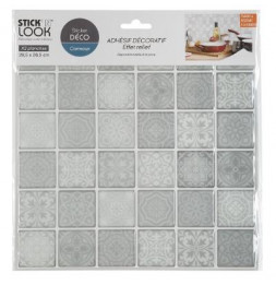 Lot de 2 stickers effet carrelage - L 28,5 x l 26,5 cm - Gris