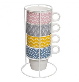 Set de 4 tasses sur rack - Faience