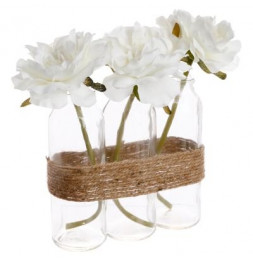Composition florale - Rose avec vase en forme de tube - Lot de 3
