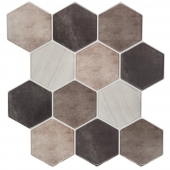 Sticker effet carrelage - 12 hexagones - Lot de 2 - Gris