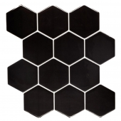 Sticker effet carrelage - 12 hexagones - Lot de 2 - Taupe