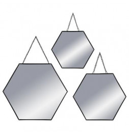 Lot de 3 miroirs - Forme hexagonale - Noir
