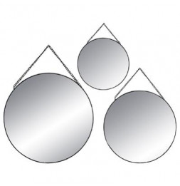 Lot de 3 miroirs ronds - Noir