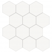 Sticker effet carrelage - 12 hexagones - Lot de 2 - Blanc