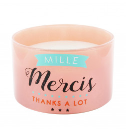 Bougie 3 mèches - Mille mercis thanks a lot - Rose