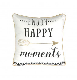 Coussin déhoussable avec citation - 40 x 40 cm - Enjoy happy moments - Blanc