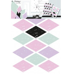 Set de 2 planches de stickers muraux - Losanges - 49 x 69 cm