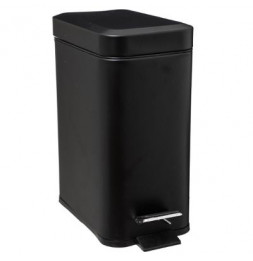 Poubelle rectangle - 5 L - Inox - Noir