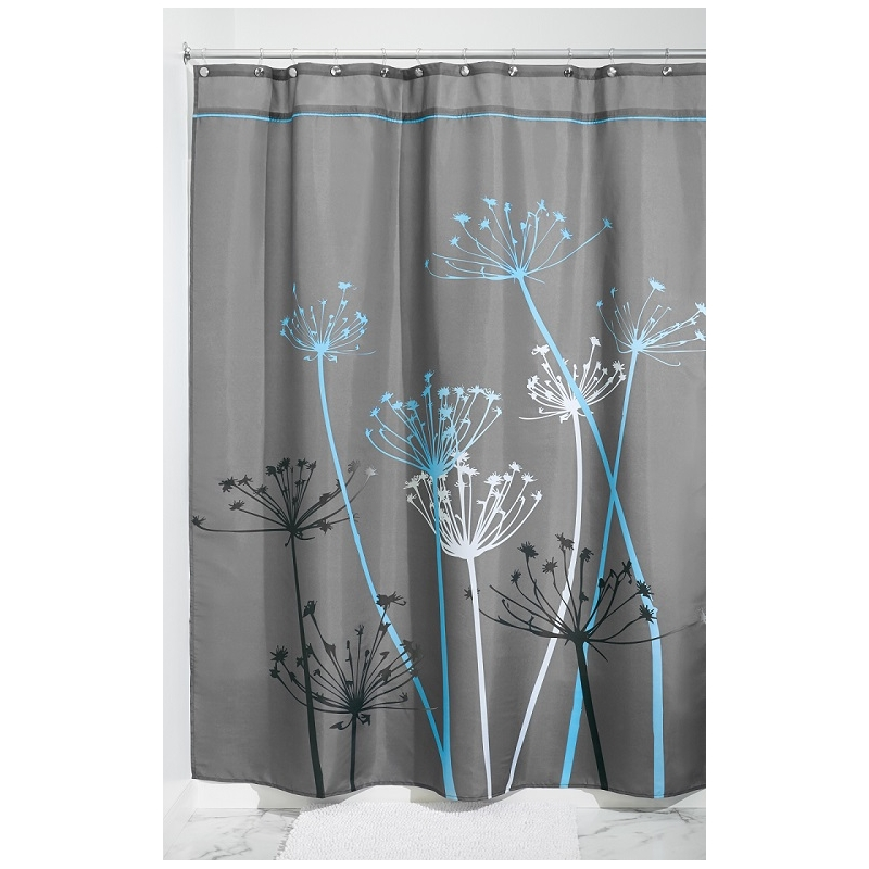 rideau de douche fleurs interdesign gris et bleu ac deco. Black Bedroom Furniture Sets. Home Design Ideas