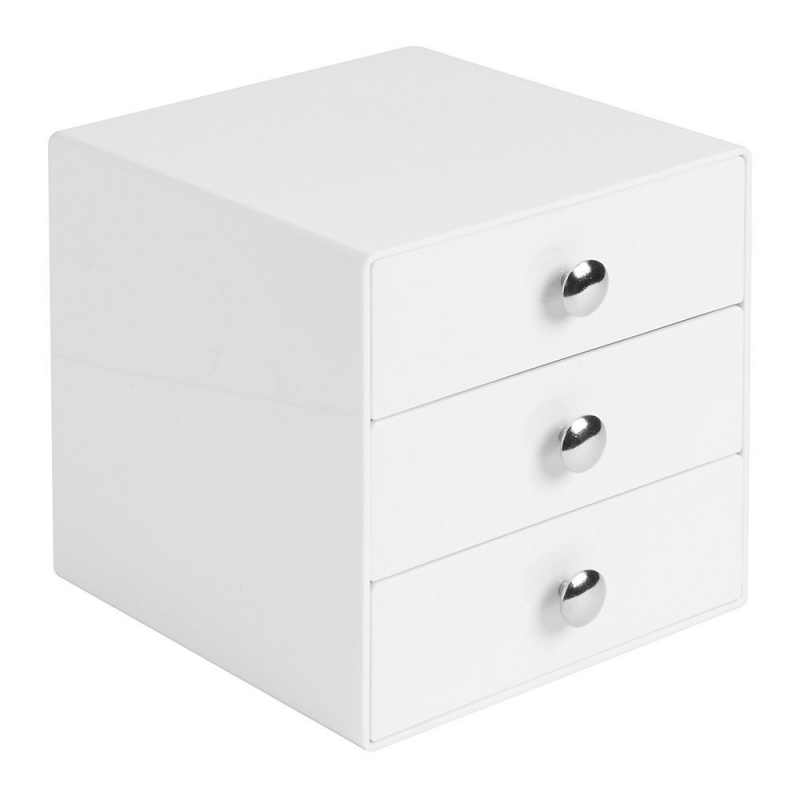 bo te de rangement 3 tiroirs blanc mini commode ac deco. Black Bedroom Furniture Sets. Home Design Ideas