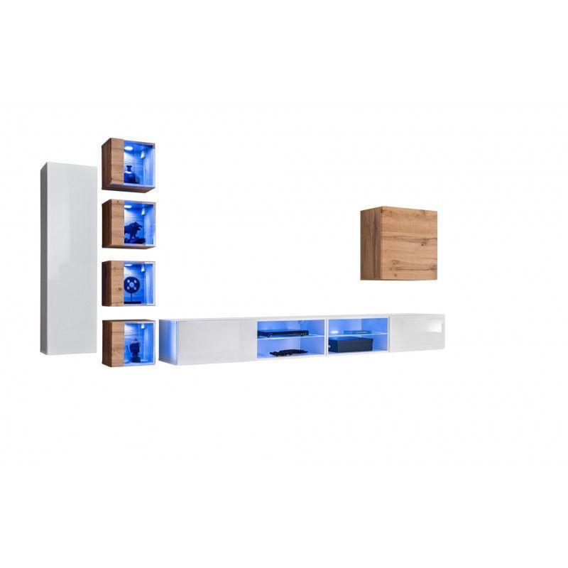 Ensemble meuble TV mural Switch XXVI - L 320 x P 40 x H 150 cm - Blanc et marron