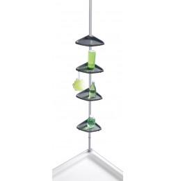 Etagère d'angle de douche téléscopique - Aluminium - 4 niveaux avec crochets