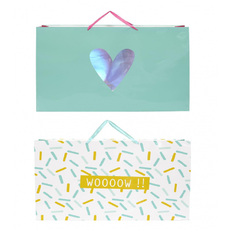 Lot de 2 sacs cadeaux - L 70 x l 18 x H 50 cm - Coloris aléatoire