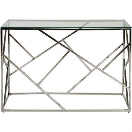 Console en verre - Island - L 120 x l 40 x H 78 cm - Métal chromé